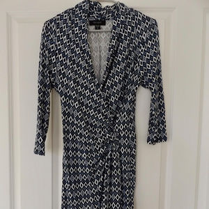 Karen Kane Navy Blue White Jersey Dress Sz Medium